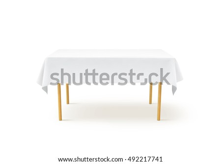 Blank White Restaurant Napkin Mockup Knife Stock Photo