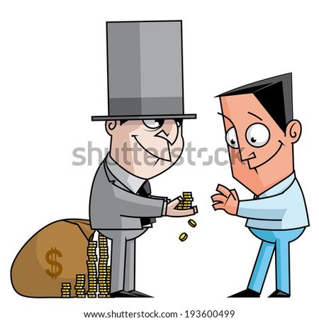 Banker gives to customer a  credit coins - stock photo