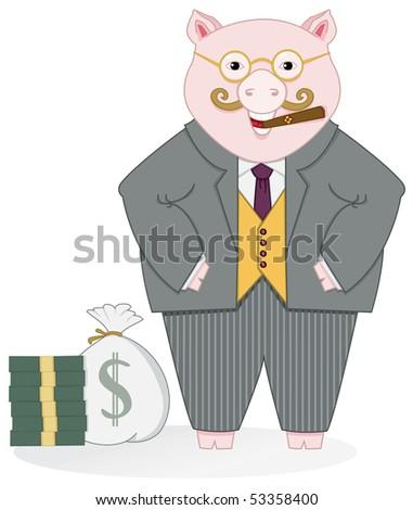 Banker Pig - RASTER Version - stock photo
