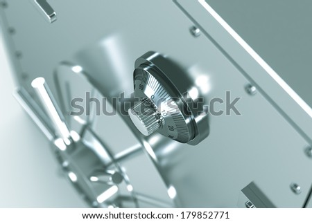 Bankers Combination Safe with blue toned - High quality render - stock photo