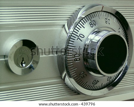 Bankers safe with key lock and combination dial lock - stock photo