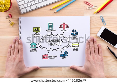 Banking and Finance chart with keywords and sketch icons - stock photo