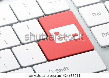 Banking concept: Enter button with Credit Card on computer keyboard background, 3D rendering