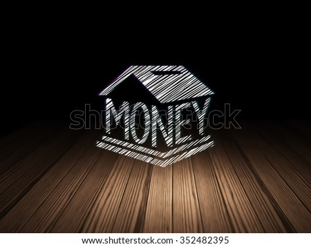 Banking concept: Glowing Money Box icon in grunge dark room with Wooden Floor, black background - stock photo