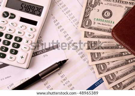 banking concept, money, calculations and expenses - stock photo