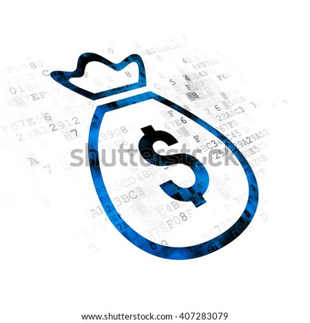 Banking concept: Pixelated blue Money Bag icon on Digital background