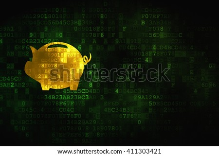 Banking concept: pixelated Money Box icon on digital background, empty copyspace for card, text, advertising - stock photo