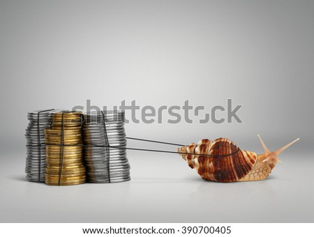 Banking concept snail pulling money with copy space - stock photo