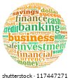 Banking info-text graphics and arrangement concept on white background (word cloud) - stock photo