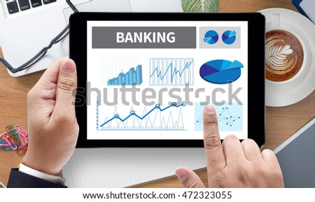 BANKING, on the tablet pc screen held by businessman hands - online, top view