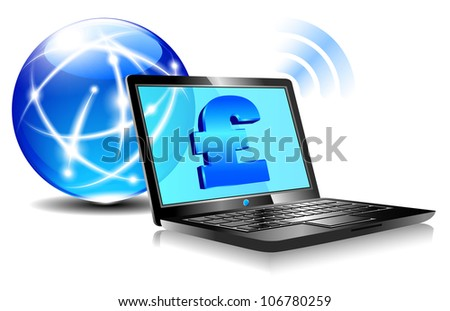 Banking online Pay by internet with money symbols for British Pound- Raster Version - stock photo