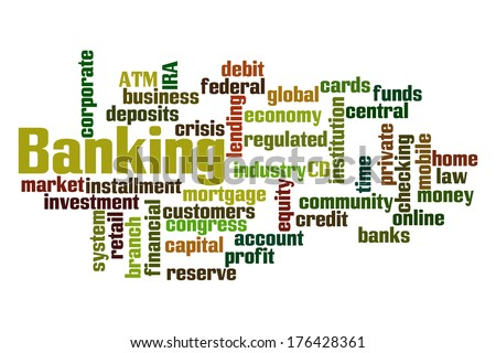 Banking word cloud on white background. - stock photo