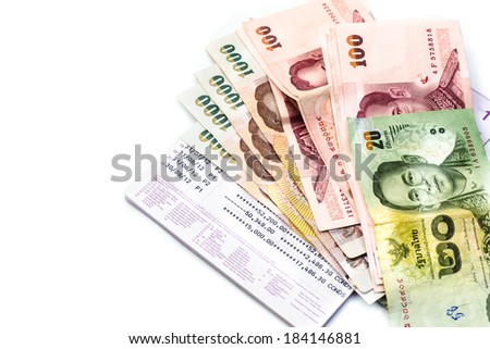 Banknote and bank book isolated on white