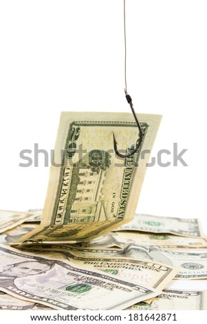 Banknote Caught On Hook - stock photo