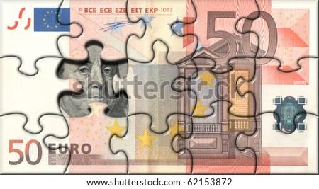 Banknote 50 Euro puzzle - stock photo