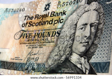 Banknote for five pounds sterling produced by the Royal Bank of Scotland.  Showing  Lord Islay, the first governor of the Royal Bank of Scotland.