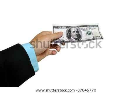Banknote handover - stock photo