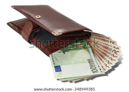 Banknote hundred and fifty euros are in brown wallet isolated on white background - stock photo