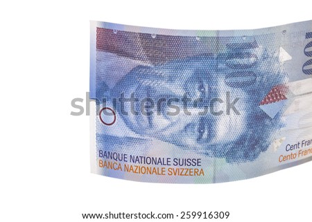 Banknote hundred Swiss Francs isolated on white - stock photo