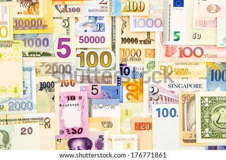 banknote money world currency paper, banking and finance, money savings - stock photo