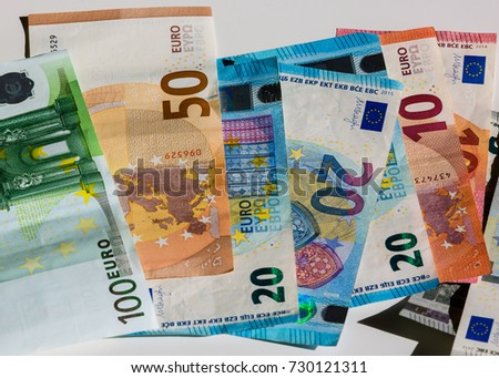 Banknote of hundred, fifty, twenty, ten and five euros. inflation, bankruptcy, currency exchange rate
