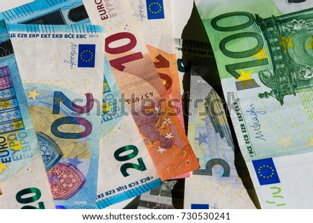 Banknote of hundred, fifty, twenty, ten and five euros. inflation, bankruptcy, currency exchange rate concept