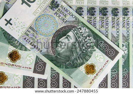 Banknote 100 PLN - Polish Zloty - stock photo