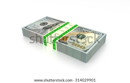 Banknote stack of ten thousand dollars rendered illustration.