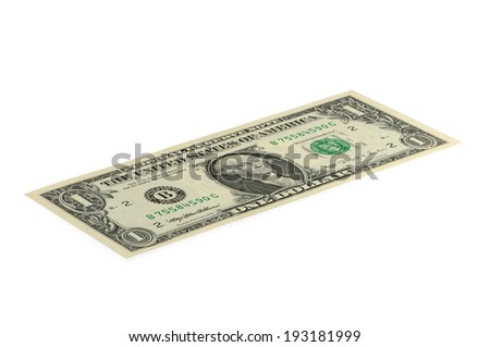 Banknote 1 US dollar isolated on a white background. Shooting at an angle. - stock photo