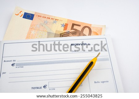 banknote with receipt - stock photo