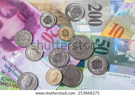 Banknotes and coins of swiss currency as background