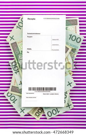banknotes and empty medical prescription on pink stripped paper [barcode is a fake]