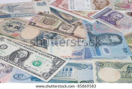 Banknotes, currencies around the world.