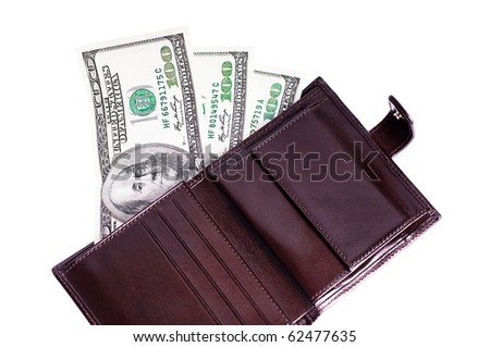Banknotes dollars in leather brown purse isolated on white
