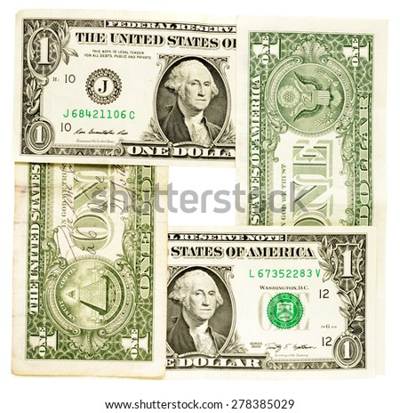 banknotes, dollars, isolated on white background