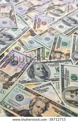 Banknotes from America. American dollar bills for background