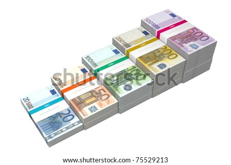 banknotes from 20 to 500 Euro in increasing steps