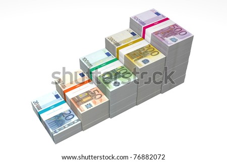 banknotes from 20 to 500 Euro in increasing steps - stock photo