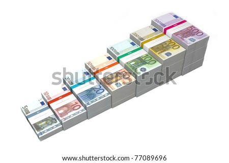 banknotes from 5 to 500 Euro in increasing steps - stock photo