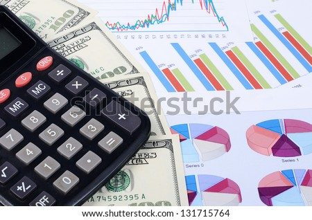Banknotes of dollar with chart a background