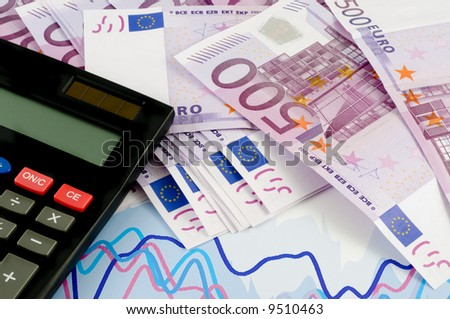 Banknotes of euro and calculator