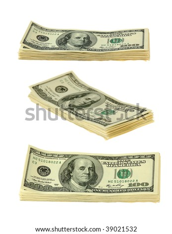 banknotes of hundreds american dollars on white background