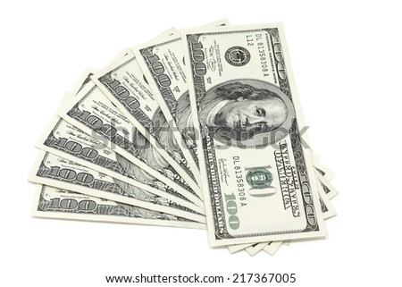 Banknotes of one hundred dollars folded fan - stock photo