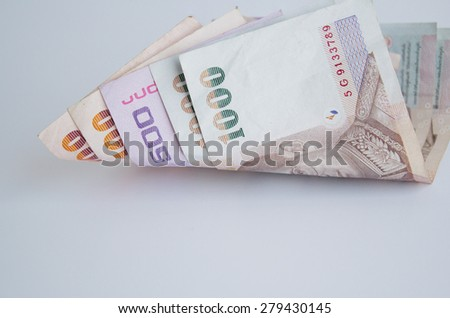 Banknotes of Thailand on white background - stock photo