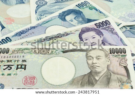 Banknotes of the Japanese yen, many price - stock photo