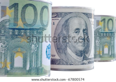 Banknotes of the world in metal cans against white background