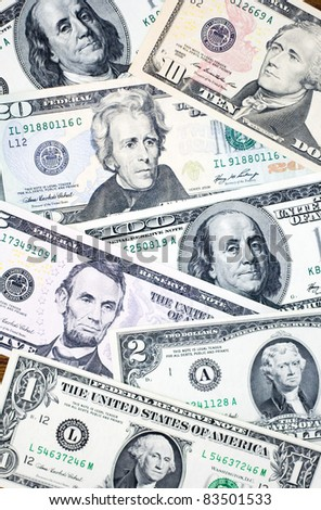 Banknotes of United States of - stock photo