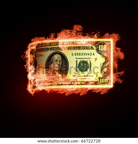 Banknotes open arms fire on a black background - stock photo