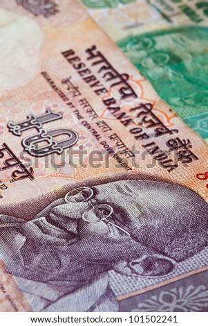 Banknotes - Rupees bills of India - stock photo