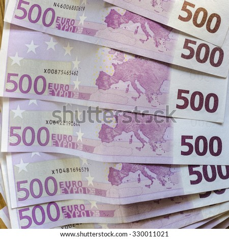 Banknotes with a value of five hundred euro. The cash as savings or credit for buying a new one - stock photo